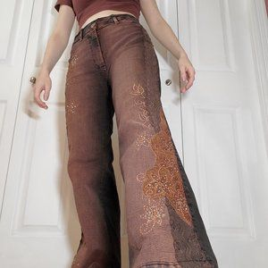 Brown wide-legged high rise rhinestone, gold & lace floral high rise fairy jeans